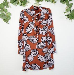 Who What Wear Burnt Orange Peonies Print Dress